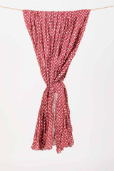 Womens Organic Cotton Wrap Scarf | Dabu Dot Block Print Wrap | Red Polka Dot