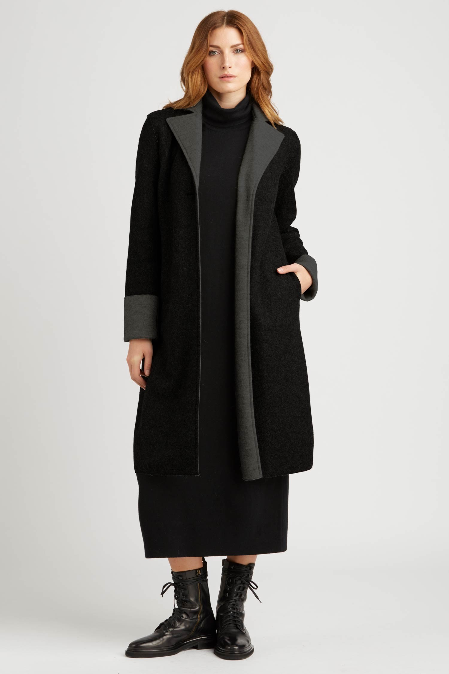 Womens Car Coat | Sustainable Black Boiled Alpaca Wool Coat