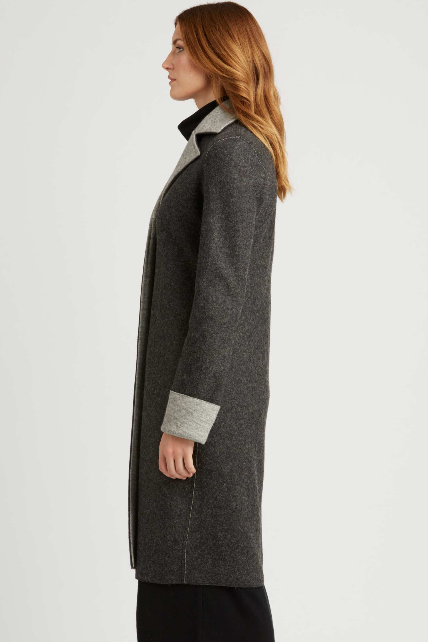 Double Faced Boiled Wool Car Coat