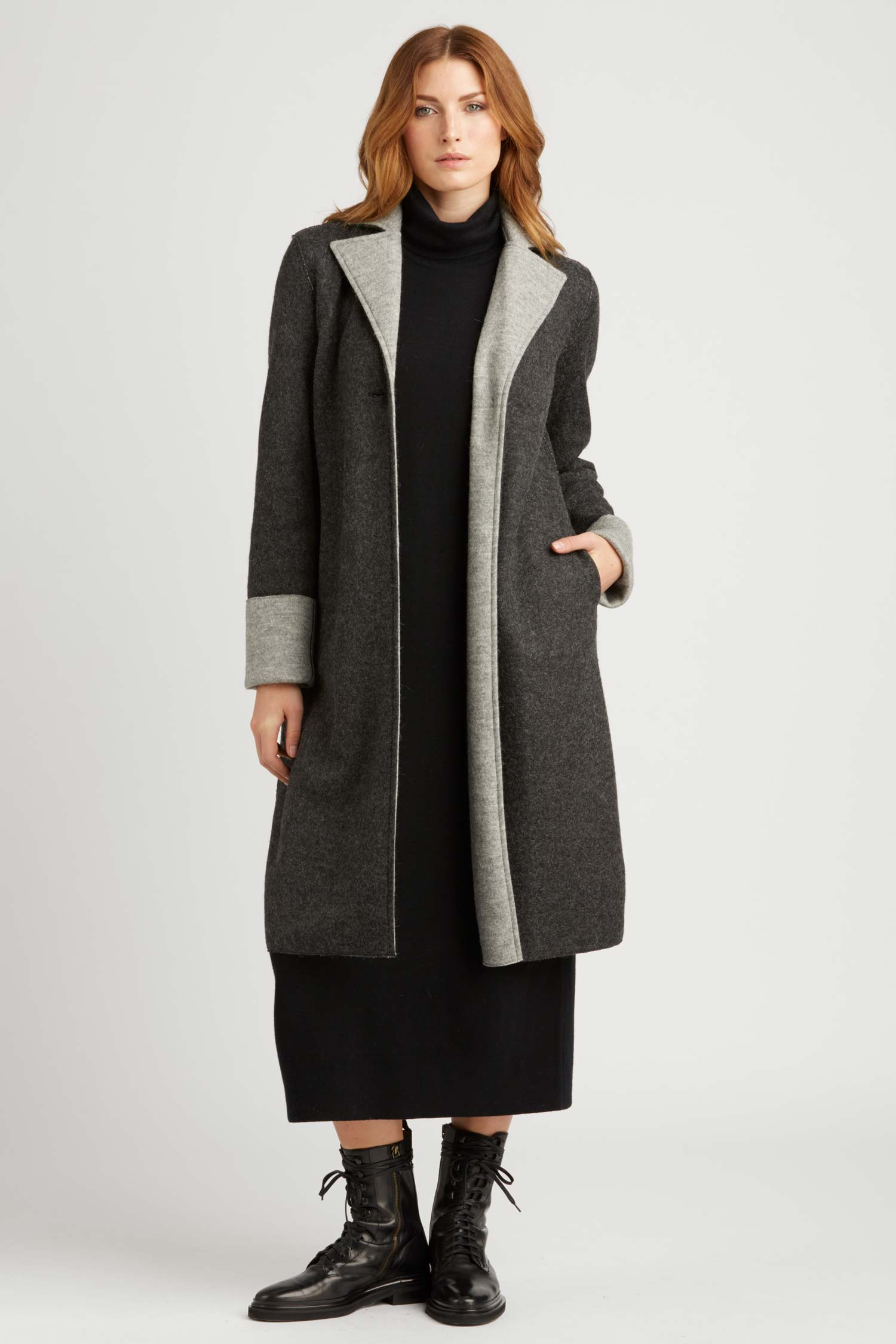 Double Faced Boiled Wool Car Coat - Indigenous