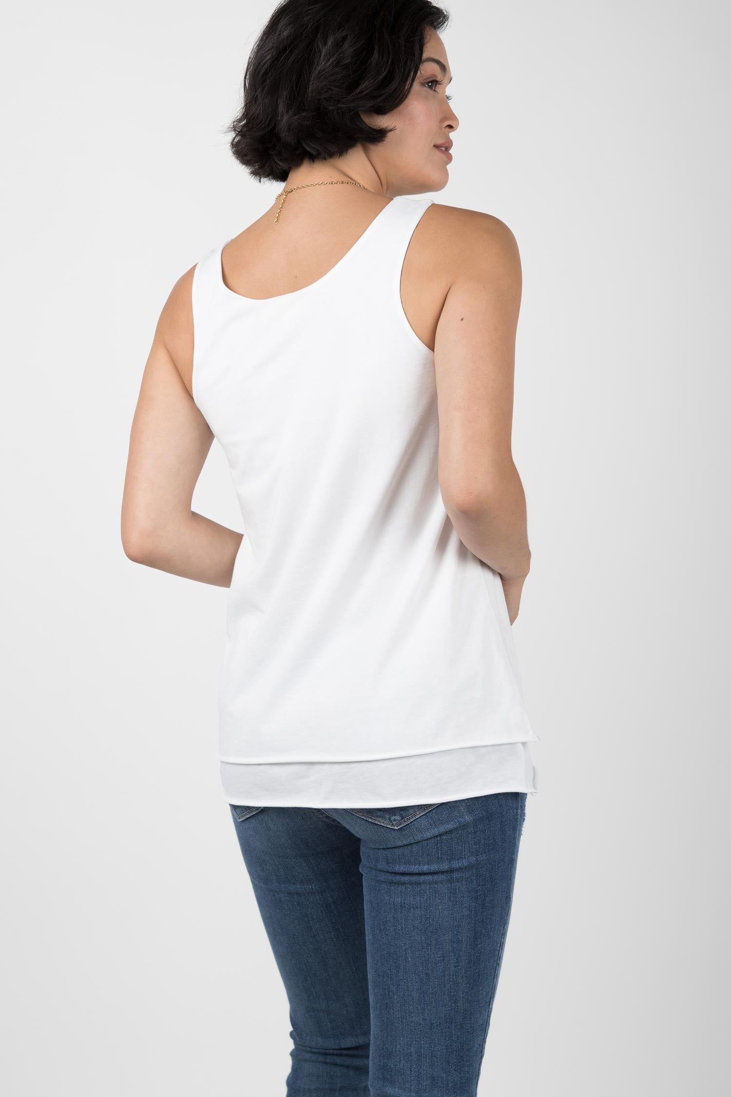 Womens Organic Cotton Top | Double Layer Tank | White
