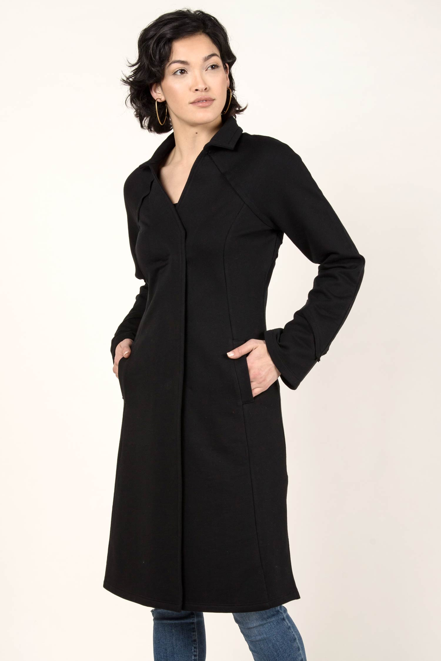 Womens Organic Cotton Coat | Dramatic Collar Fleece Coat | Black