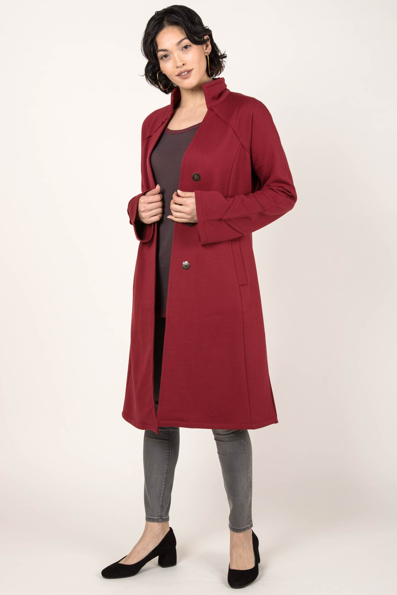 Womens Organic Cotton Coat | Dramatic Collar Fleece Coat | Cherry Red