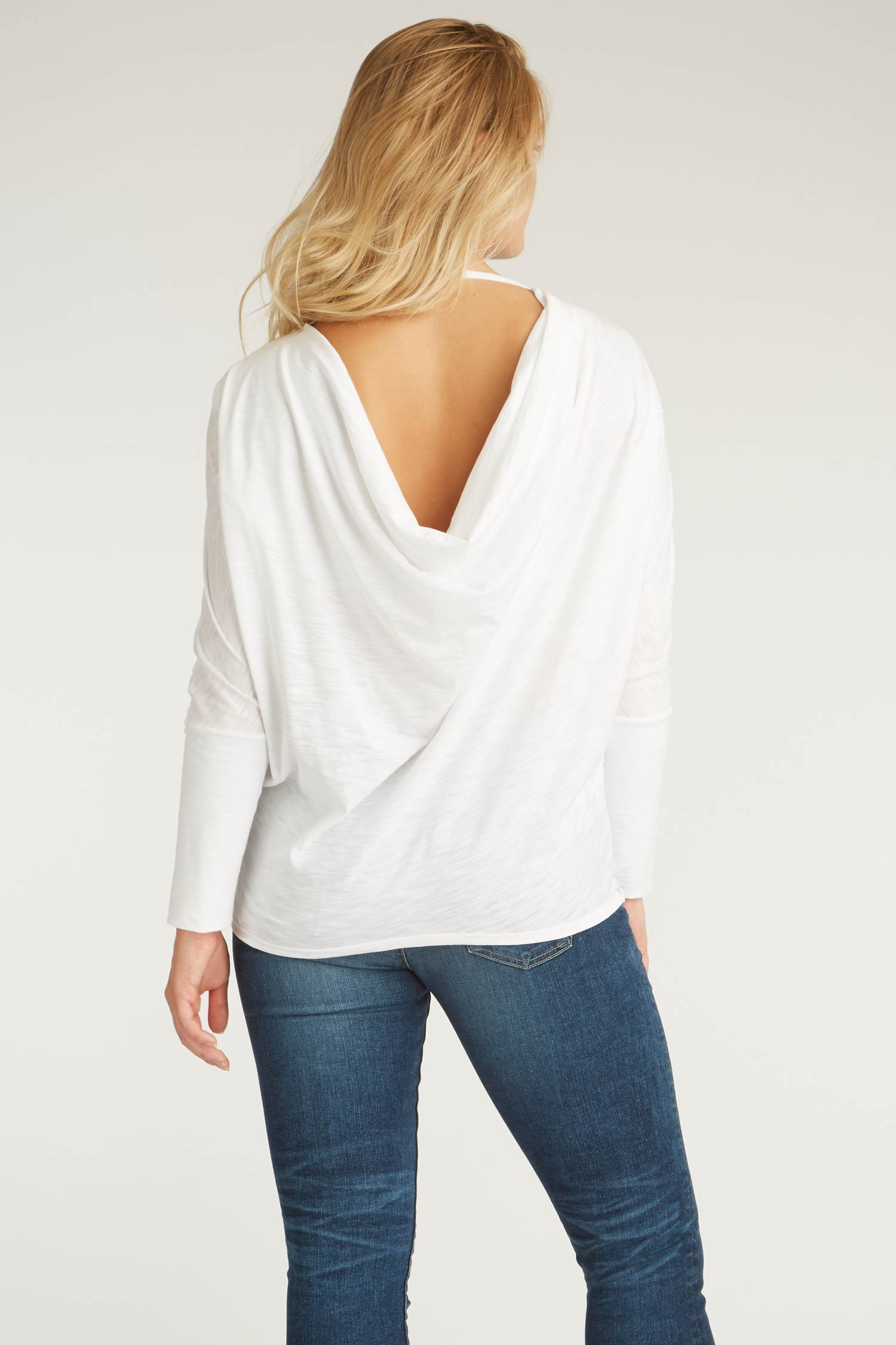 Womens Organic Cotton Top - Reversible Drape Pullover Blouse - White