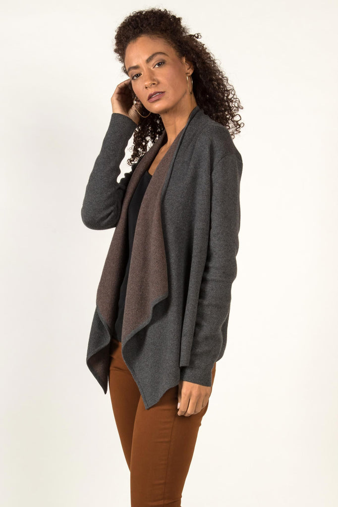 Womens Organic Cotton Sweater | Drape Front Cardigan | Gray