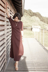 Elbow Sleeve Boatneck Dress - Indigenous