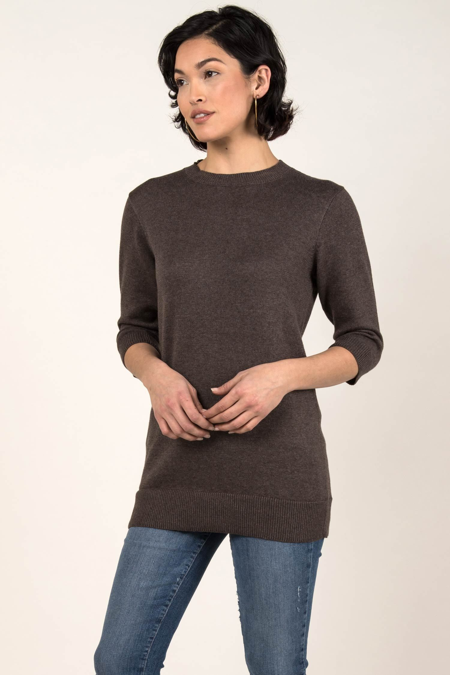 Womens Organic Cotton Top | Knit Elbow Sleeve Tunic Sweater | Stone Brown