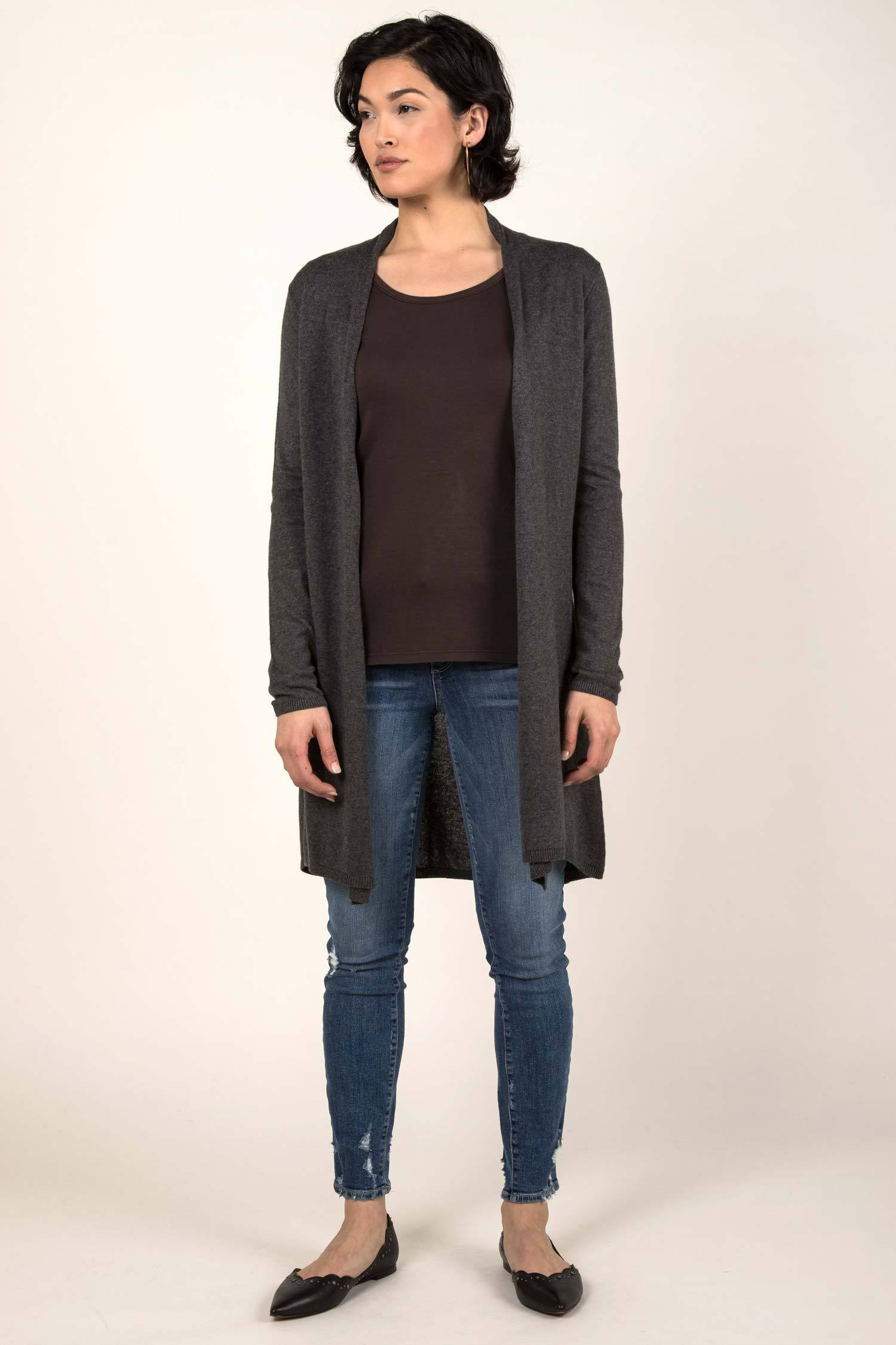 Womens Organic Cotton Sweater | Essential Knit Cardigan | Charcoal