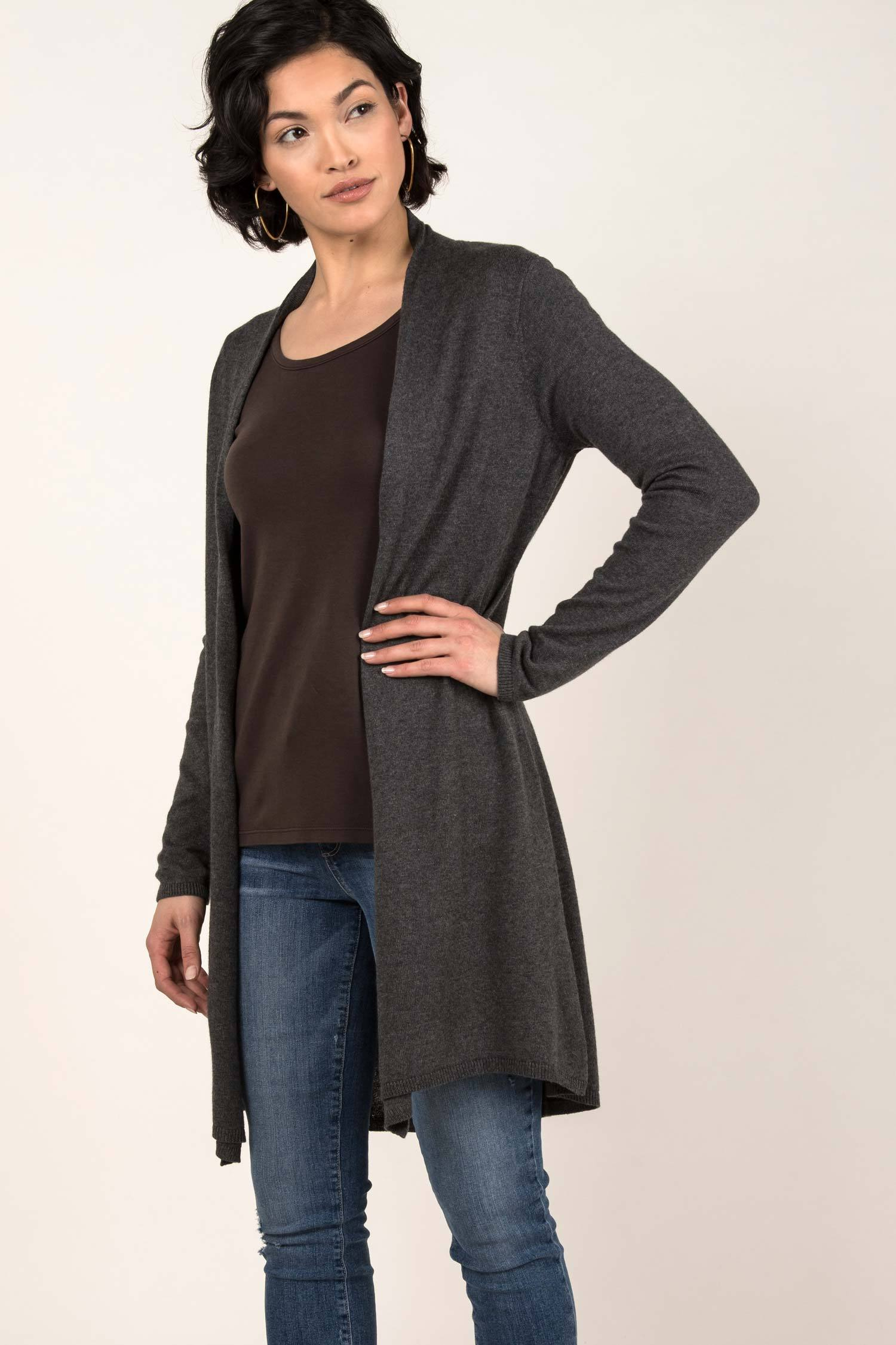 Womens Organic Cotton Sweater | Essential Knit Cardigan | Gray