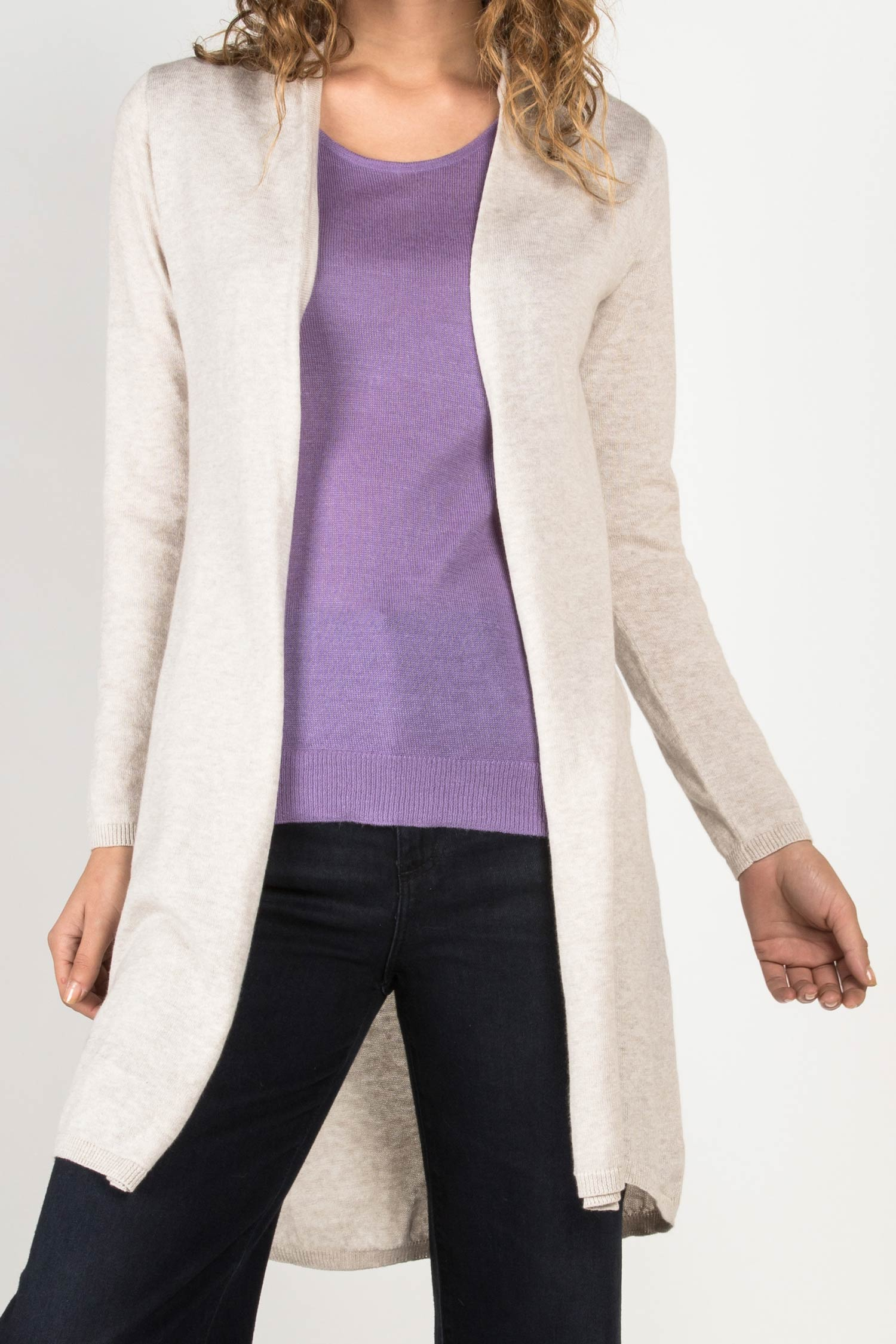 Womens Organic Cotton Sweater | Essential Knit Cardigan | Oatmeal Ivory