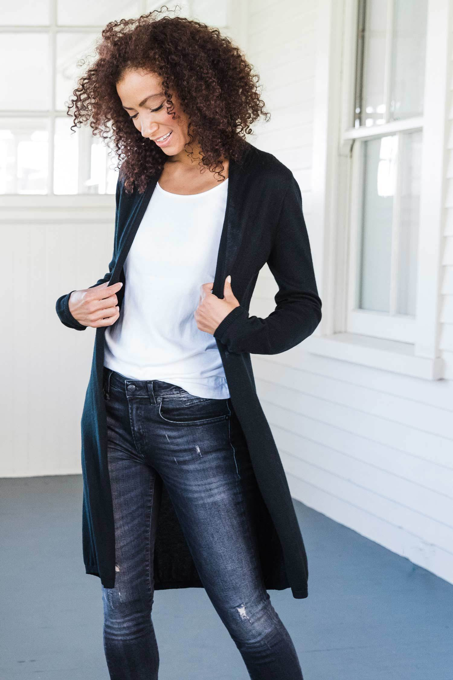 Womens Organic Cotton Sweater | Essential Knit Cardigan | Black