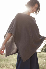 Womens Knit Poncho | Brown | Organic Cotton Poncho