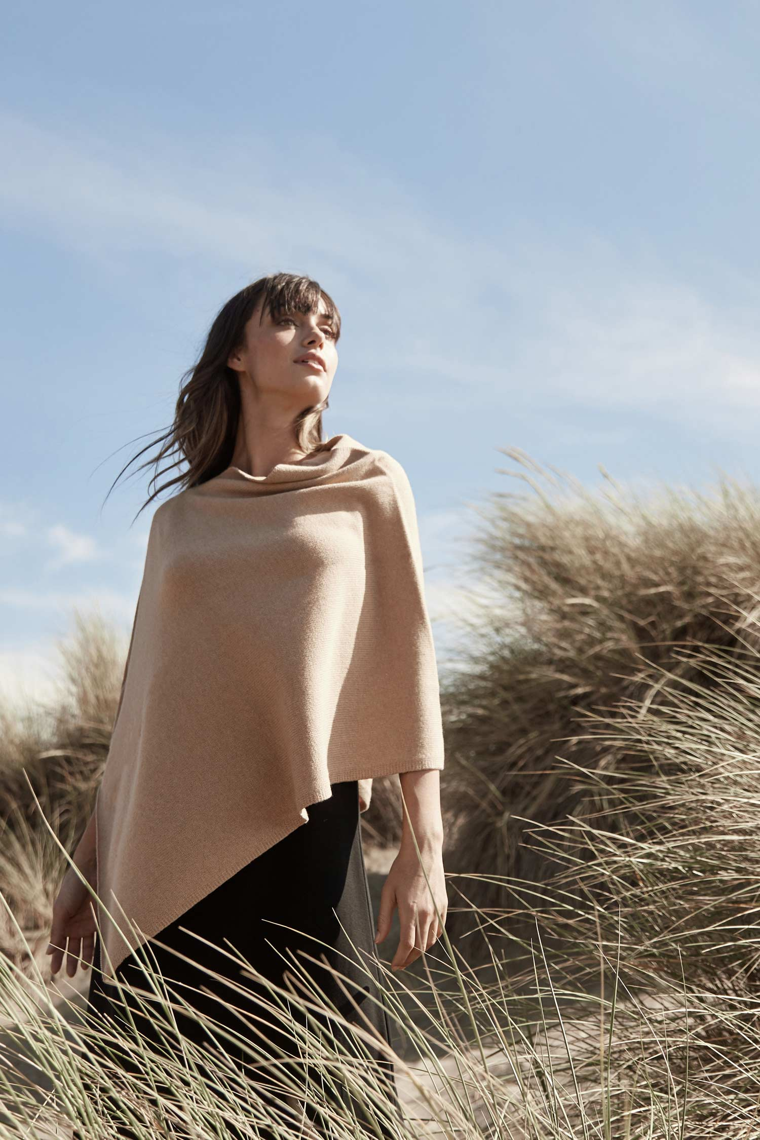 Womens Organic Cotton Poncho - Pure Undyed Beige Knit Ponchos