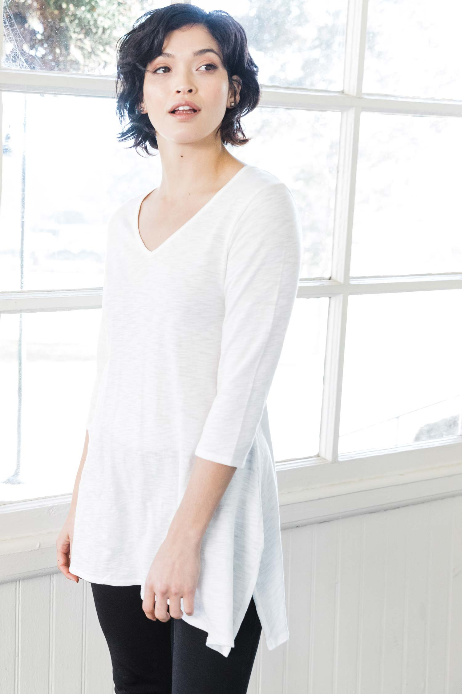 Womens organic cotton tunic top | White | Indigenous
