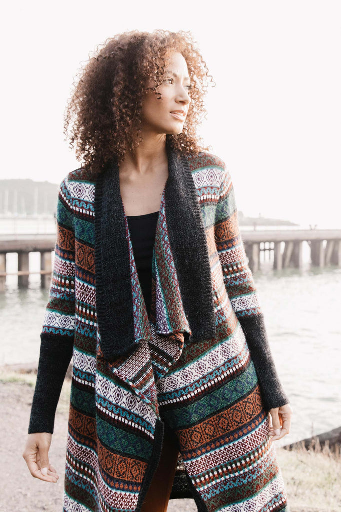 Womens Organic Cotton Sweater | Alpaca Fair Isle Coat