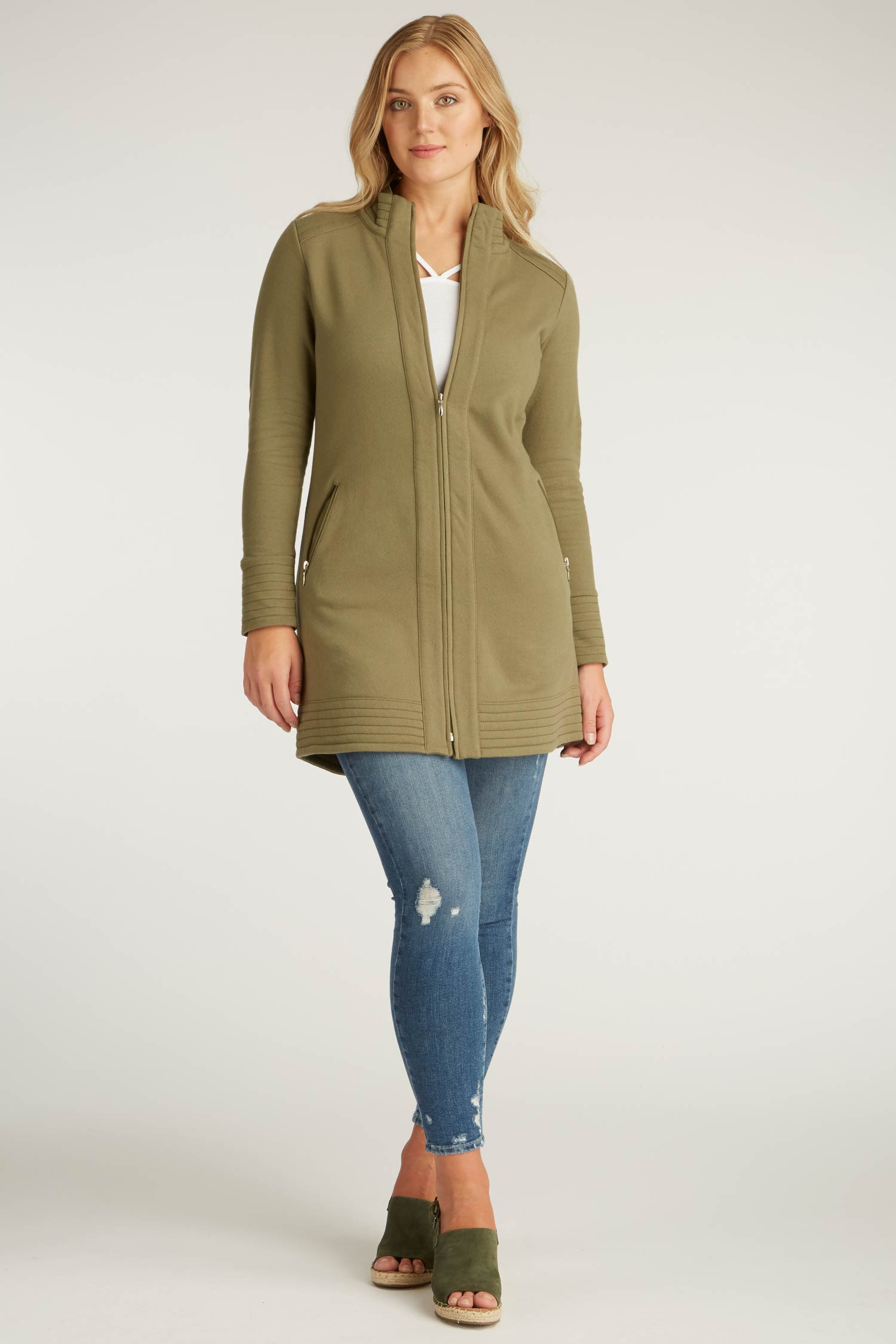 Womens Fleece Jacket | A Line Coat | Green