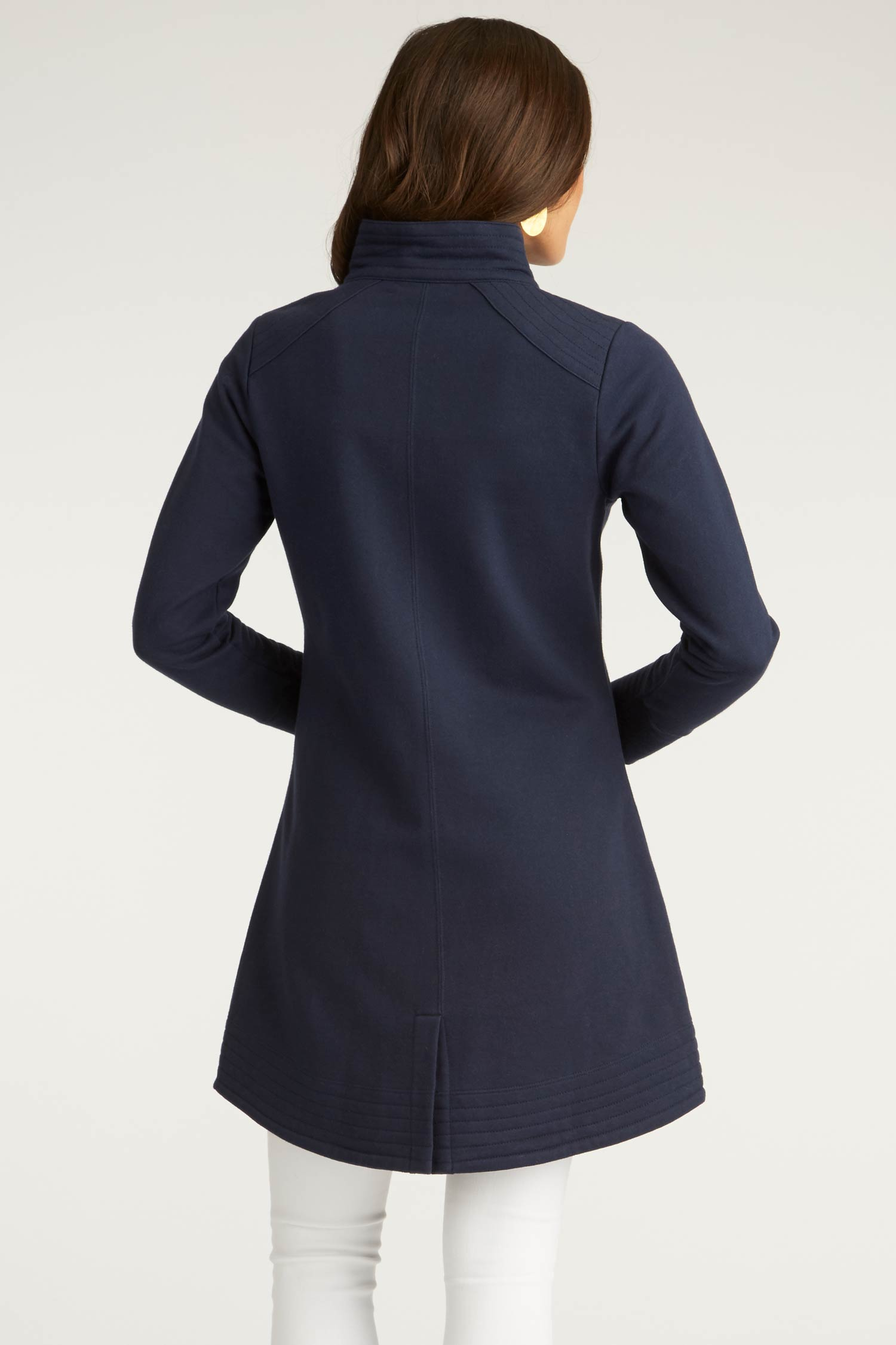 Womens Fleece Jacket | A Line Coat | Navy