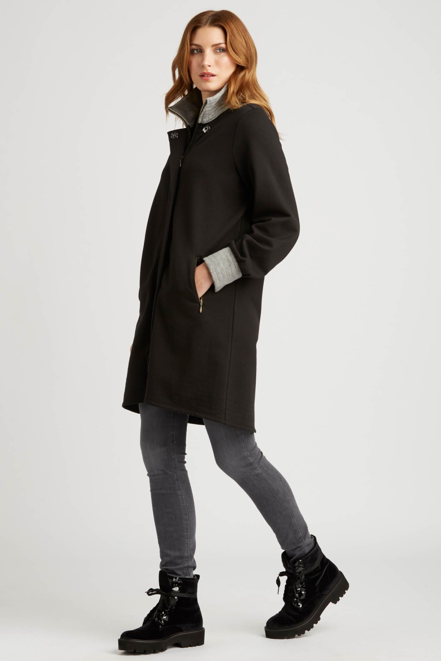 Womens Fleece Bomber Coat | Black | Organic Cotton Clothing