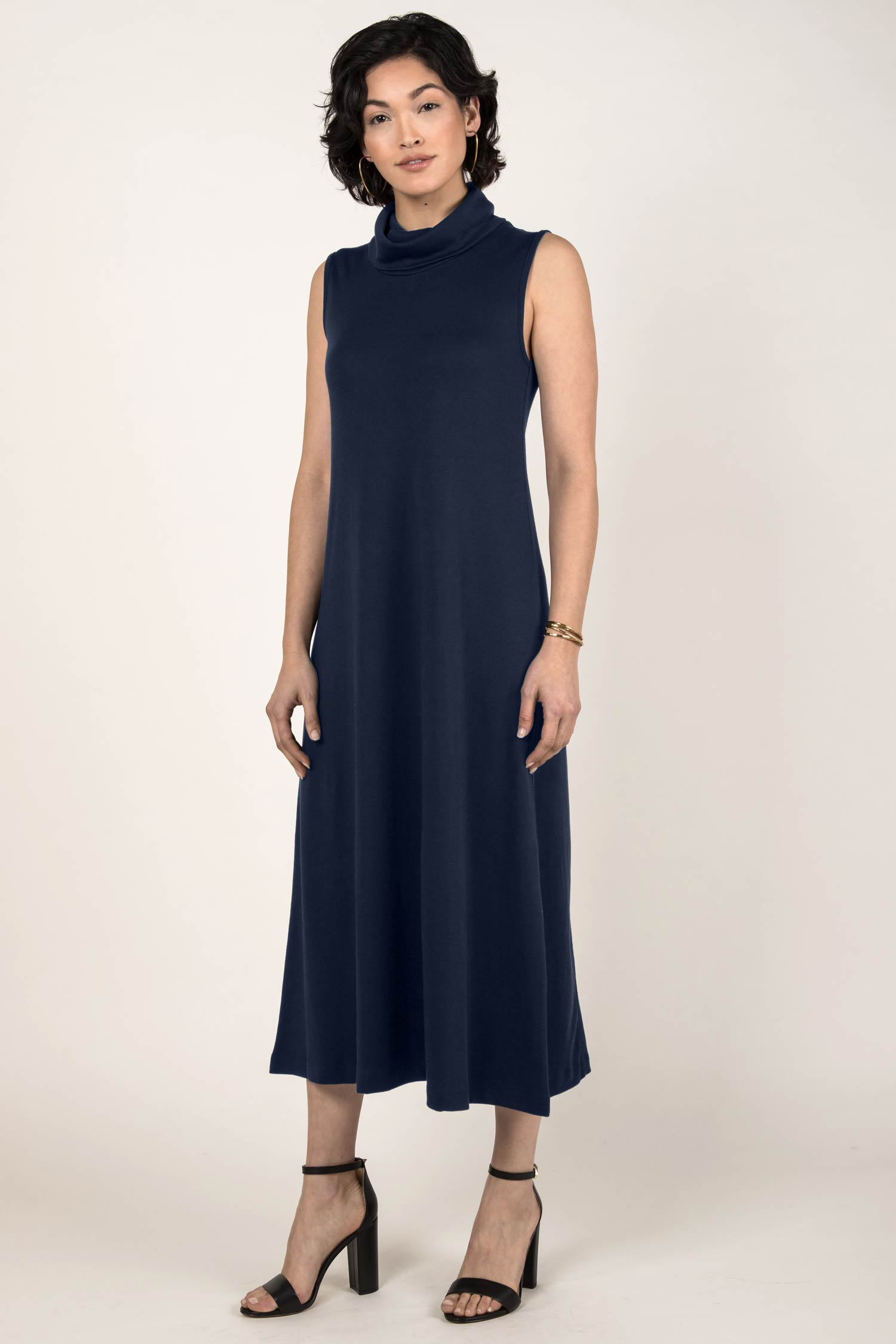 Foldover Cowl Neck Dress