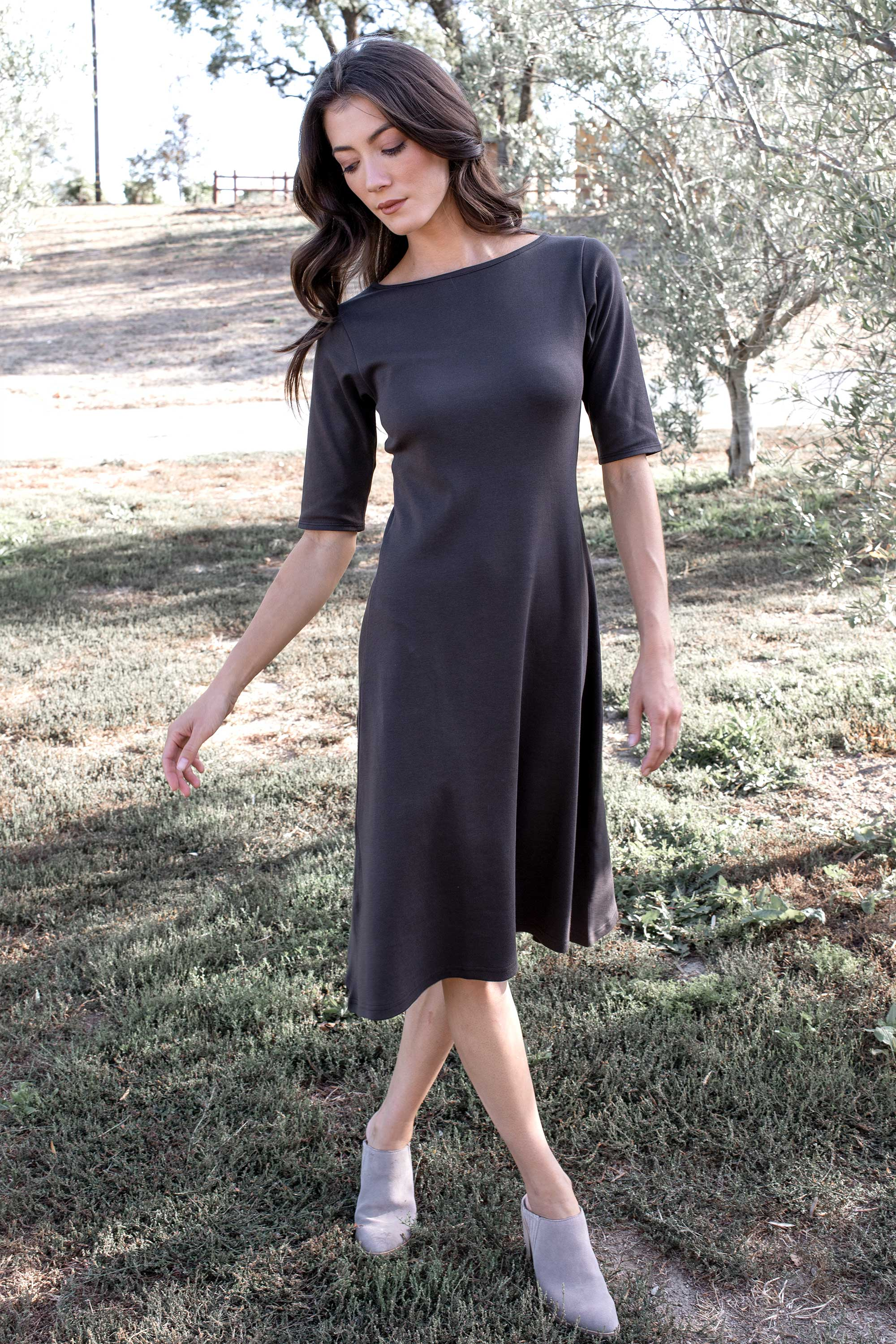 Essential Boatneck Midi Dress - Indigenous