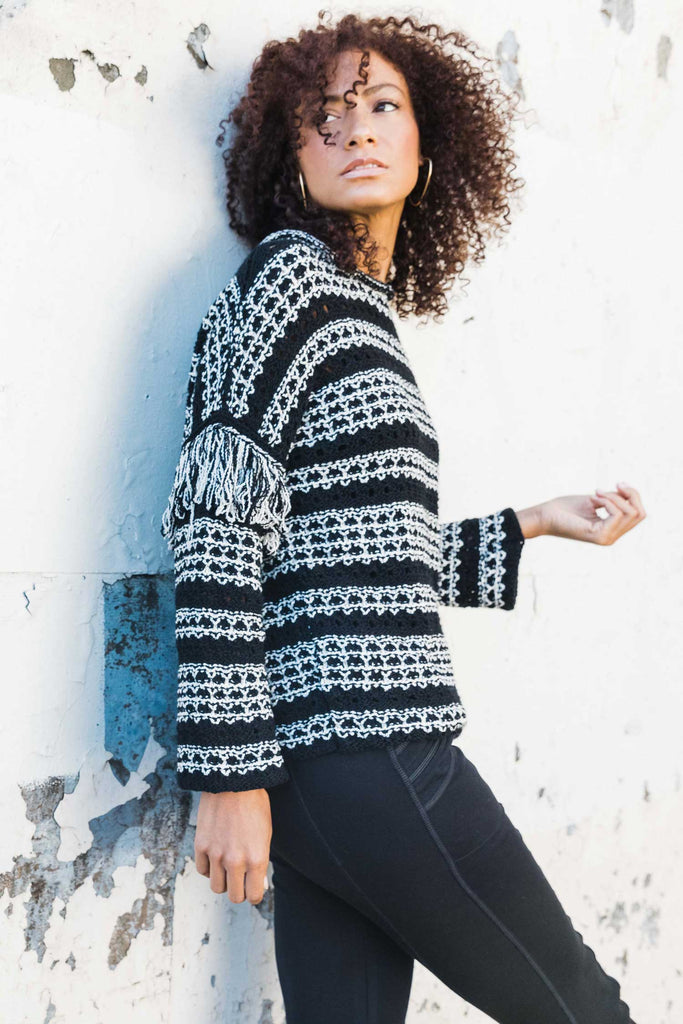 Womens Organic Cotton Sweater | Fringe Sleeve Sweater | Black White
