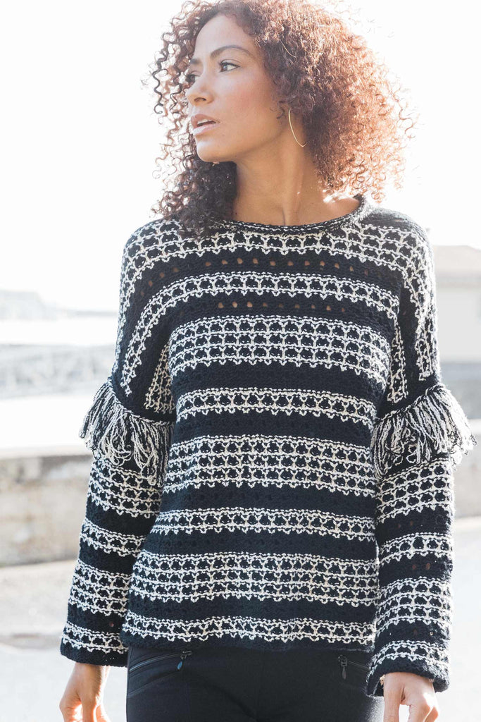 Fringe Sleeve Sweater - Indigenous
