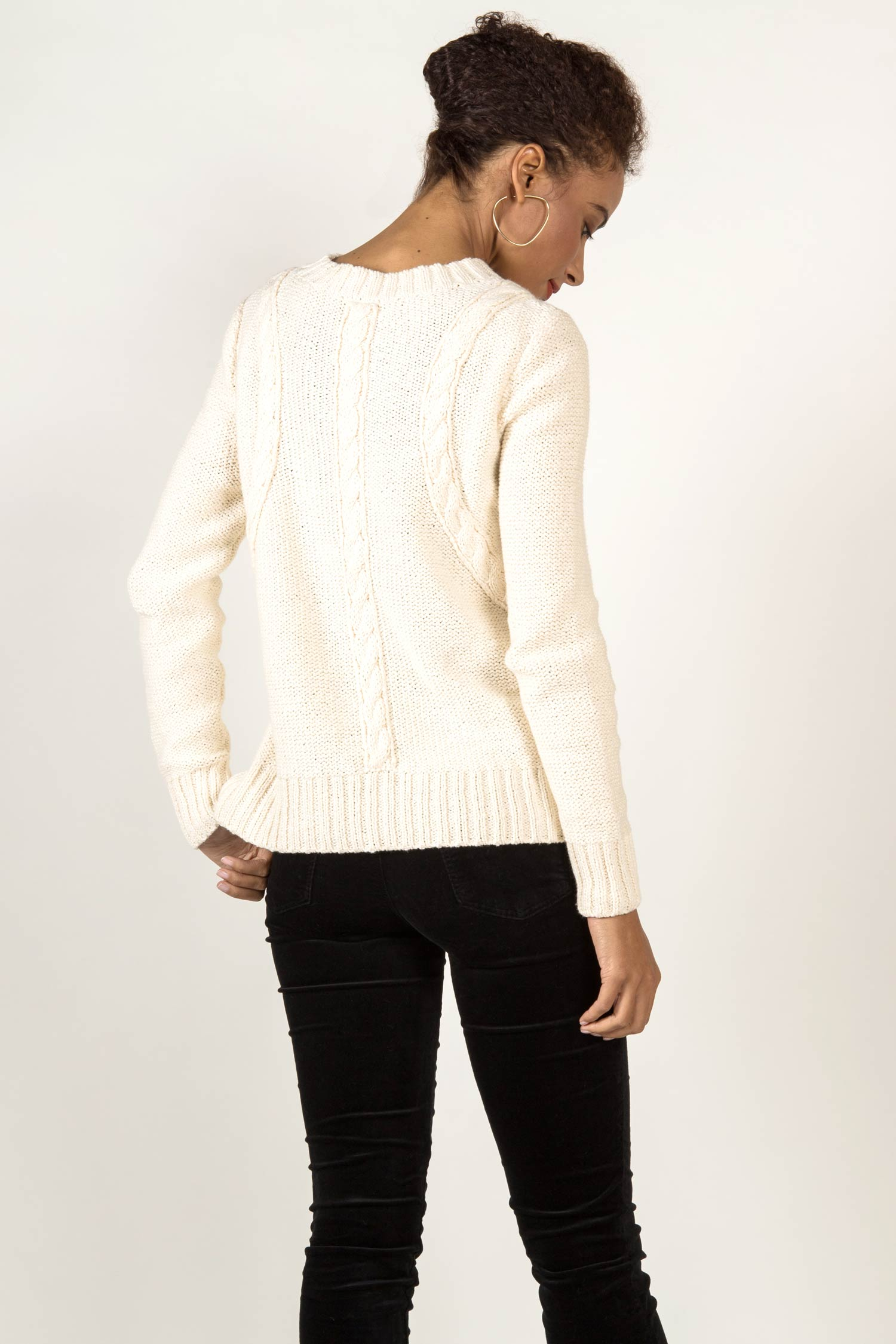Womens Organic Cotton Sweater - Frise Cable Crew - Ivory White