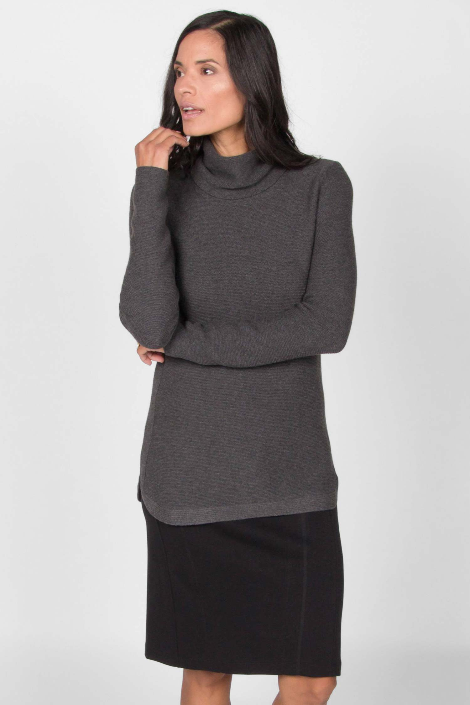 Womens Funnel Neck Sweater | Organic Cotton Clothing | Gray