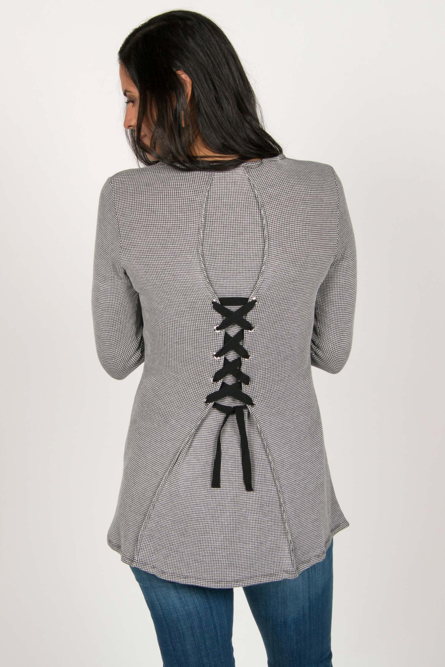 Womens Organic Cotton Top | Waffle Tie Back Pullover in Gray