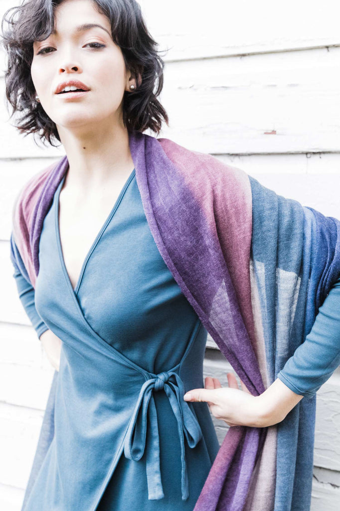 Womens Hand Painted Wrap | Large Silk Alpaca Scarf