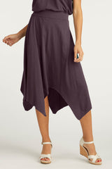 Womens Organic Cotton Skirts | Handkerchief Hem Skirt | Plum Purple | Indigenous
