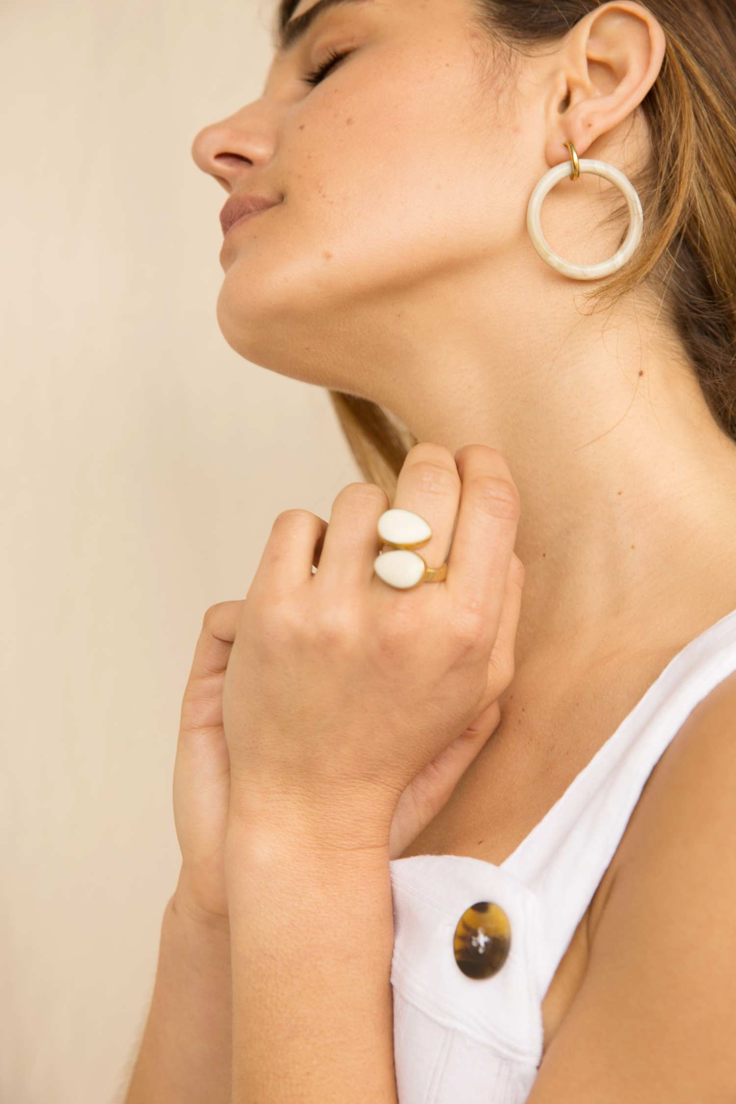 Ethically Made Jewelry: Indra Horn Statement Ring in White by SOKO