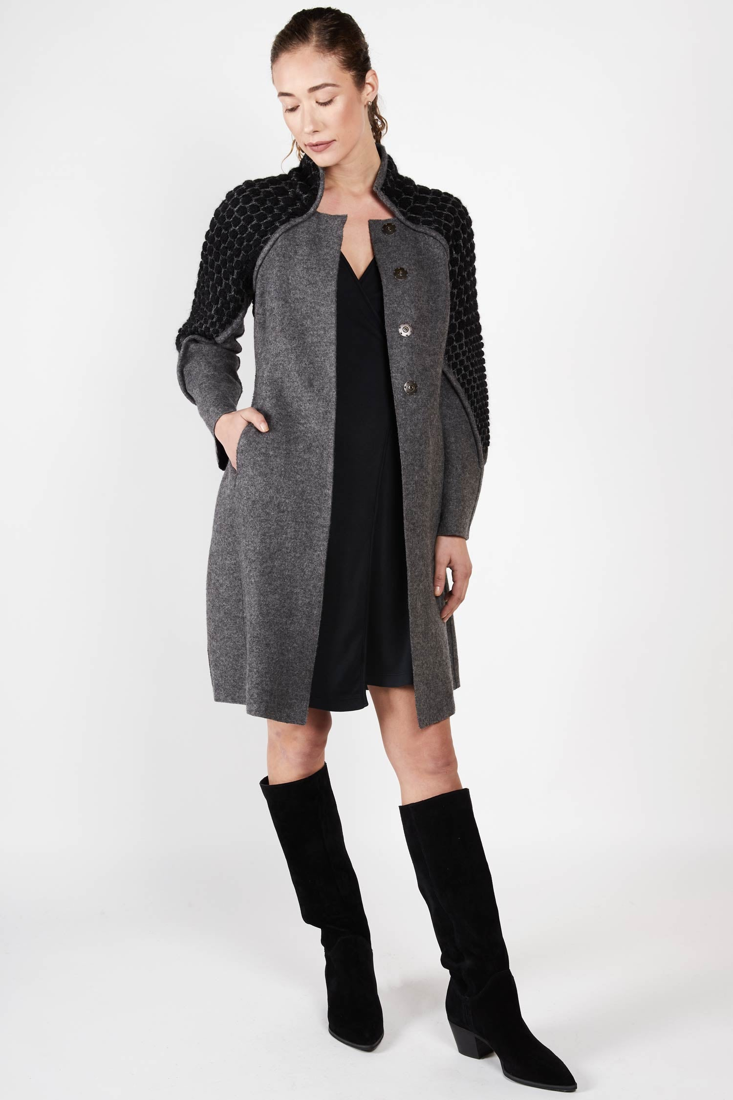 Knit and Boiled Alpaca Wool Coat - Indigenous