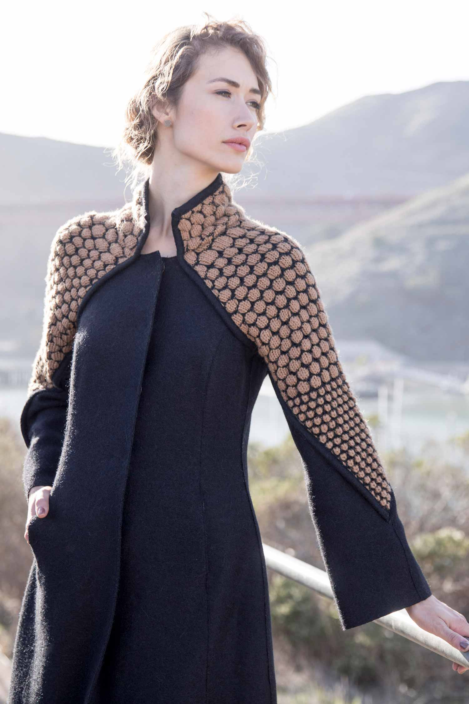 Womens Alpaca Wool Coat | Black Boiled Wool + Artisan Knit