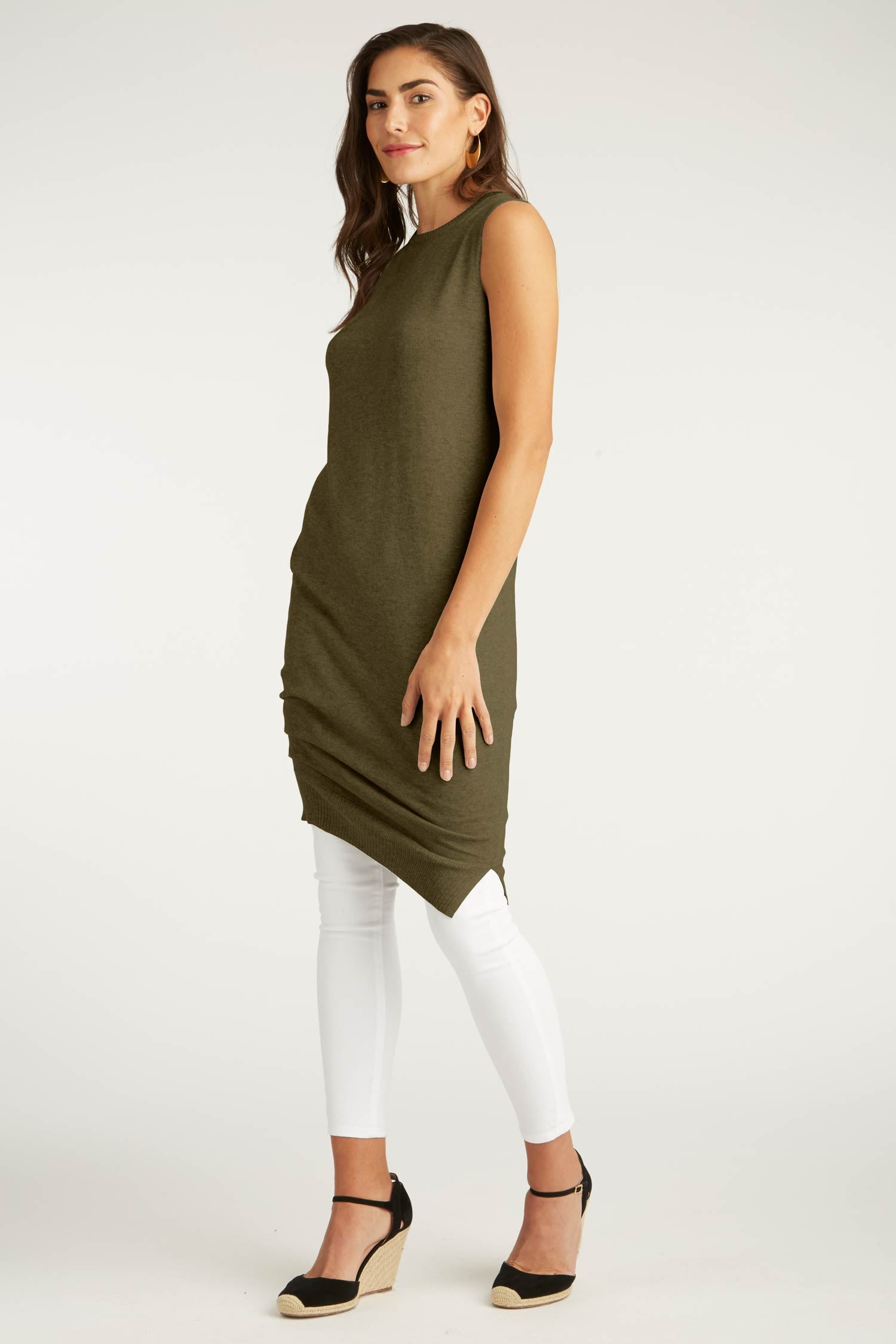 Womens Organic Cotton Dress | Green Knit Draped Dress | Indigenous