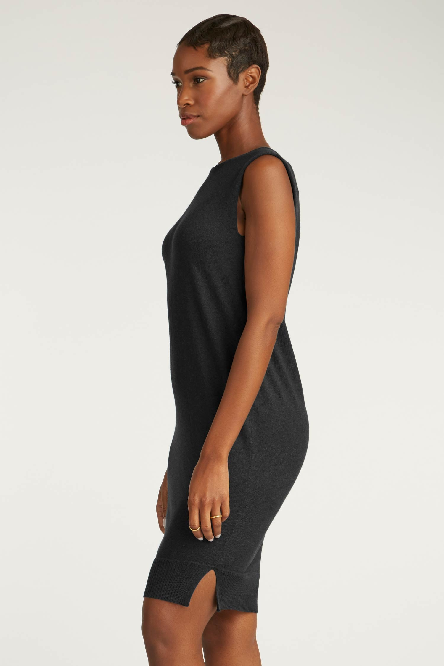 Womens Organic Cotton Dress | Black Knit Draped Dress | Indigenous