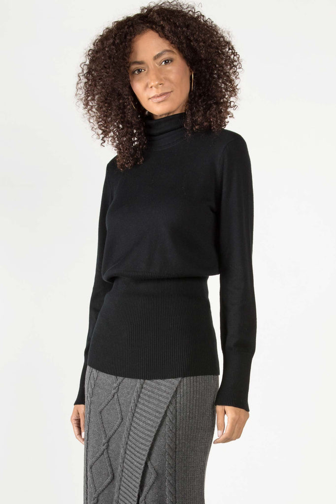 Womens Organic Cotton Blouse | Knit Turtleneck Sweater Top | Black