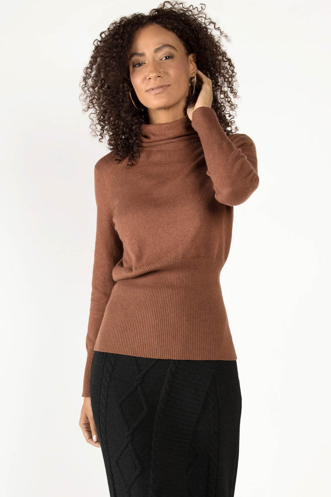 Womens Organic Cotton Blouse | Knit Turtleneck Sweater Top | Brown