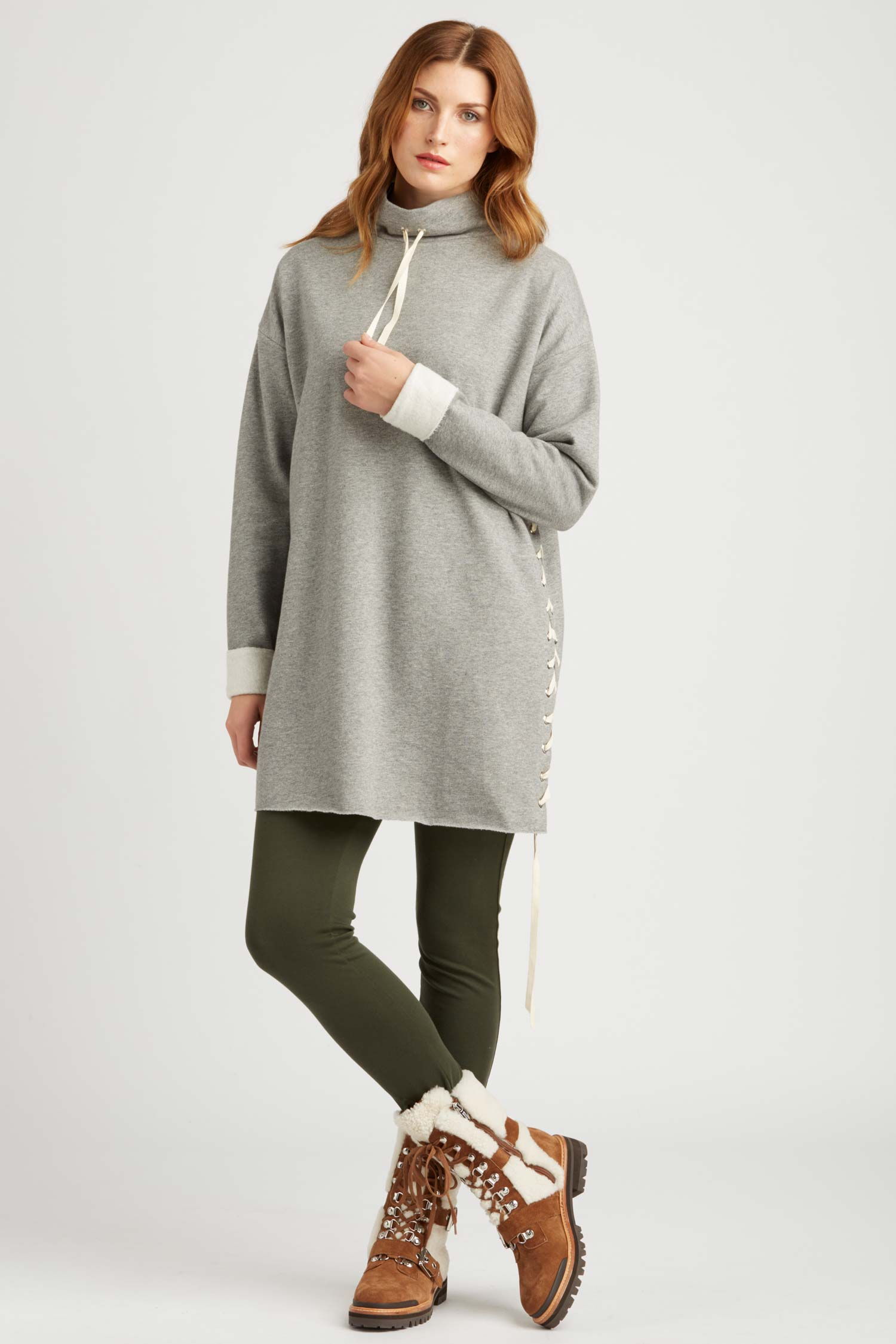 Womens Cocoon Lace Up Tunic in Gray Organic Cotton Fleece