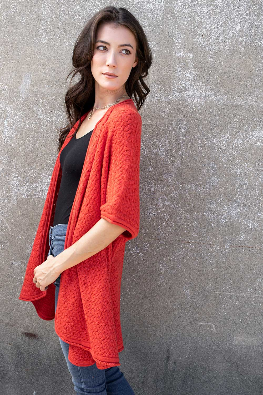 Lattice Stitch Open Cardigan