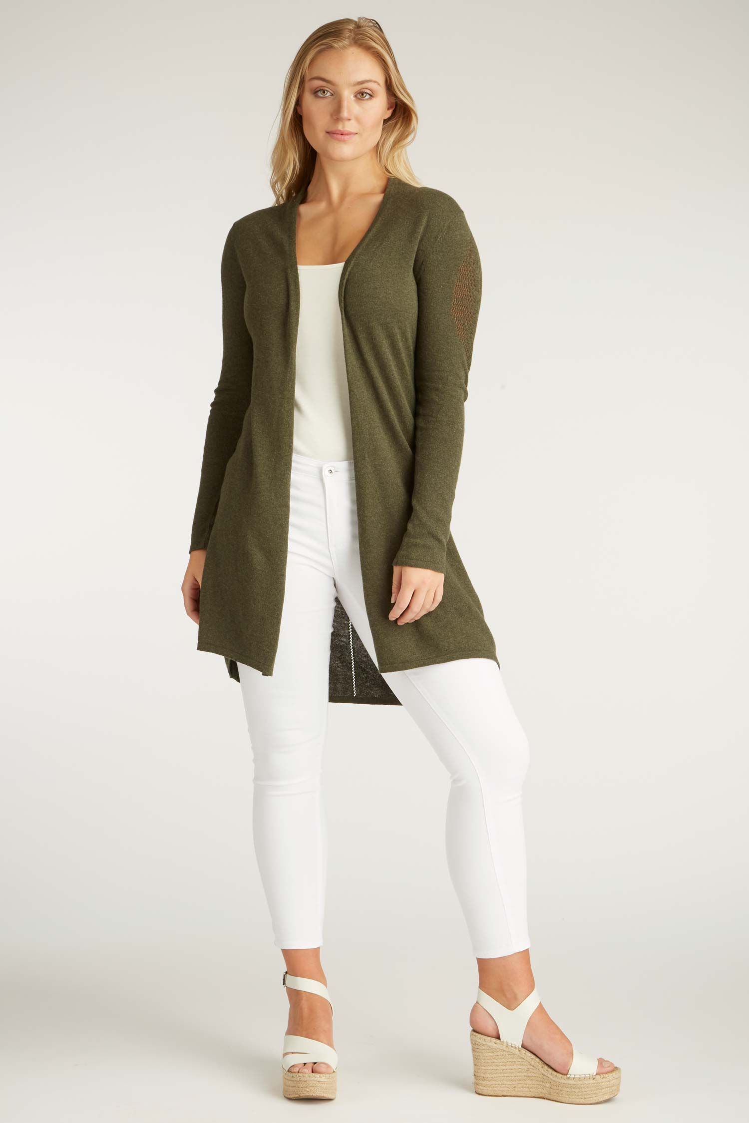 Womens Leaf Cardigan | Organic Cotton Sweater | Moss Green