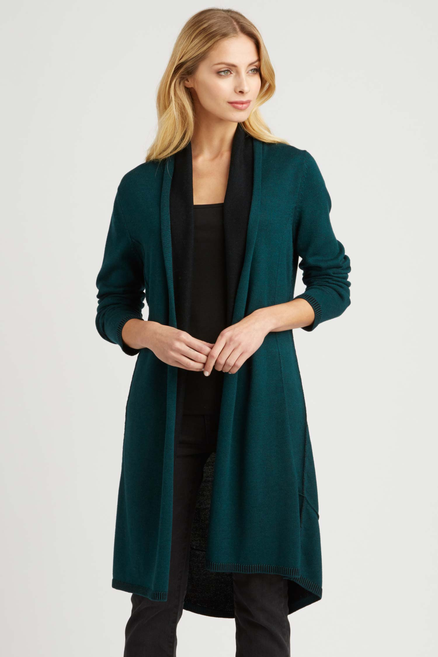Womens Luxury Reversible Cardigan | Jade Teal Black
