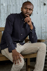 Mens Organic Linen Shirt | Black Eclipse | Button Down Long Sleeve Shirts