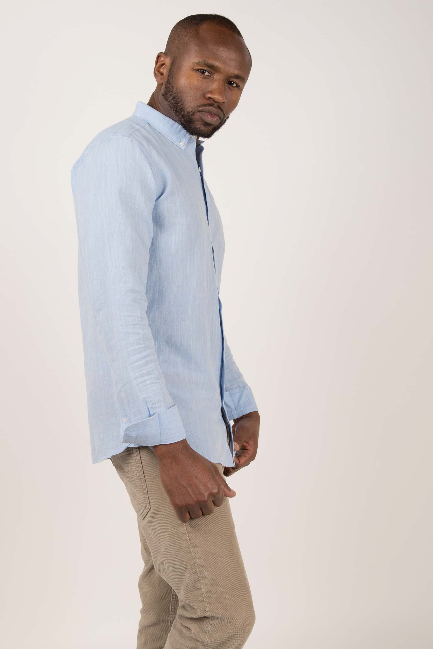 Mens Organic Linen Shirt | Light Blue Button Down Long Sleeve Shirts