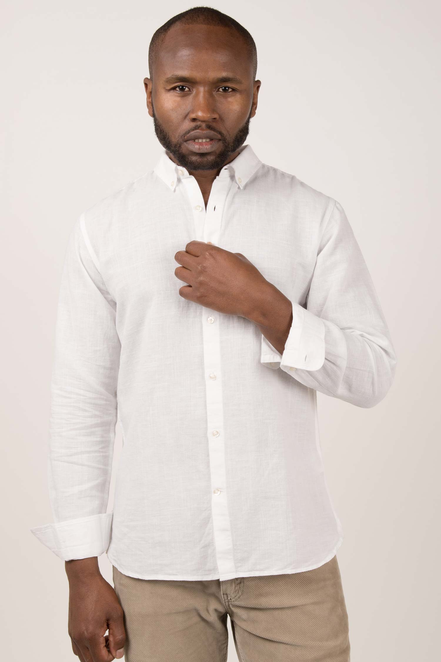 Mens Organic Linen Shirt | White Button Down Long Sleeve Shirts