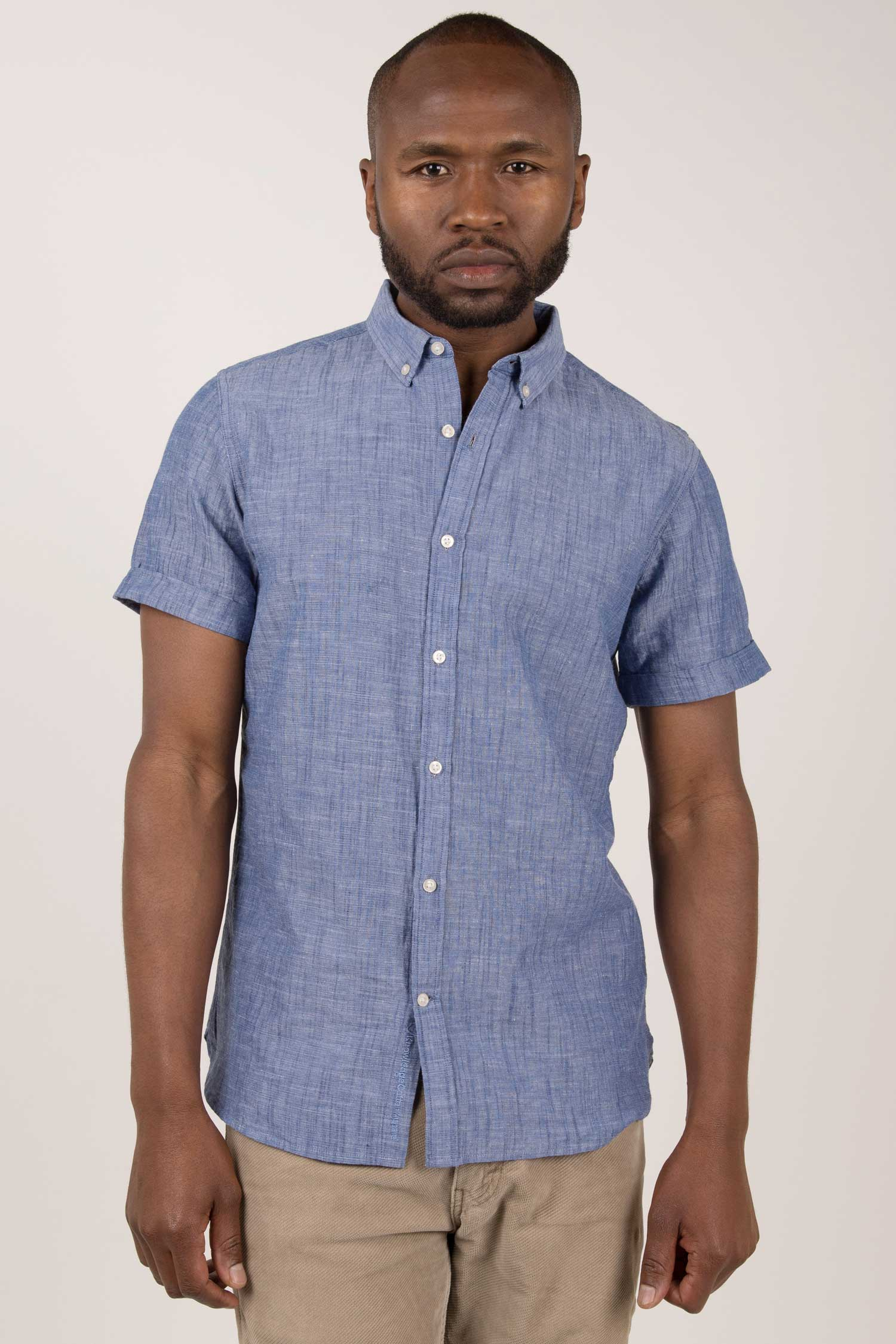 Shirt Sleeved Basic Short Blue Men vNmn8w0