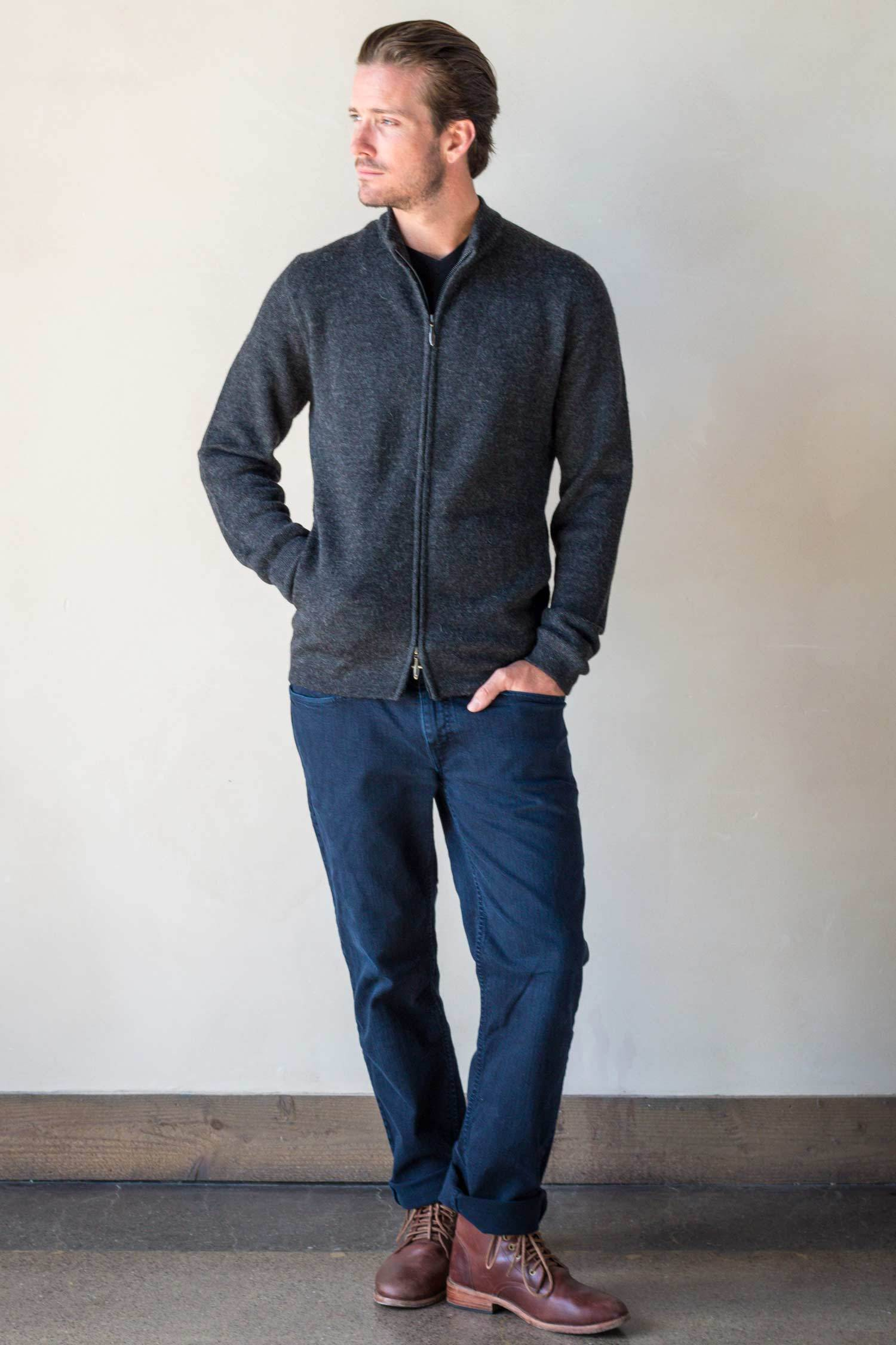 Alpaca Mock Neck Zip Sweater