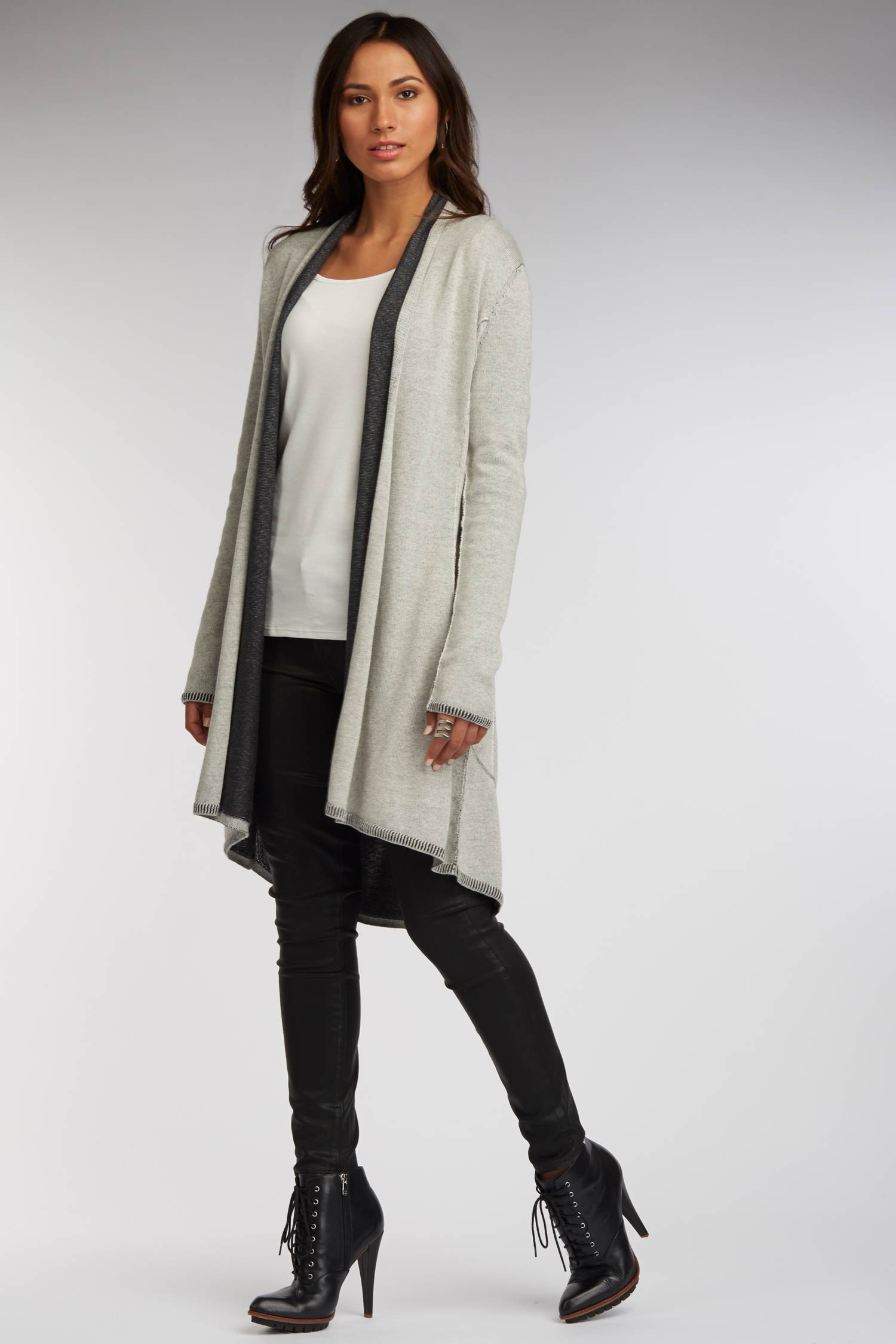 Womens Luxury Reversible Cardigan | Ivory Black