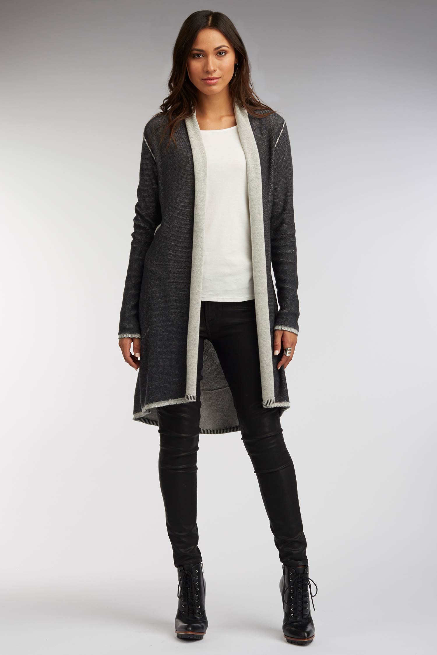Womens Luxury Reversible Cardigan | Black Ivory