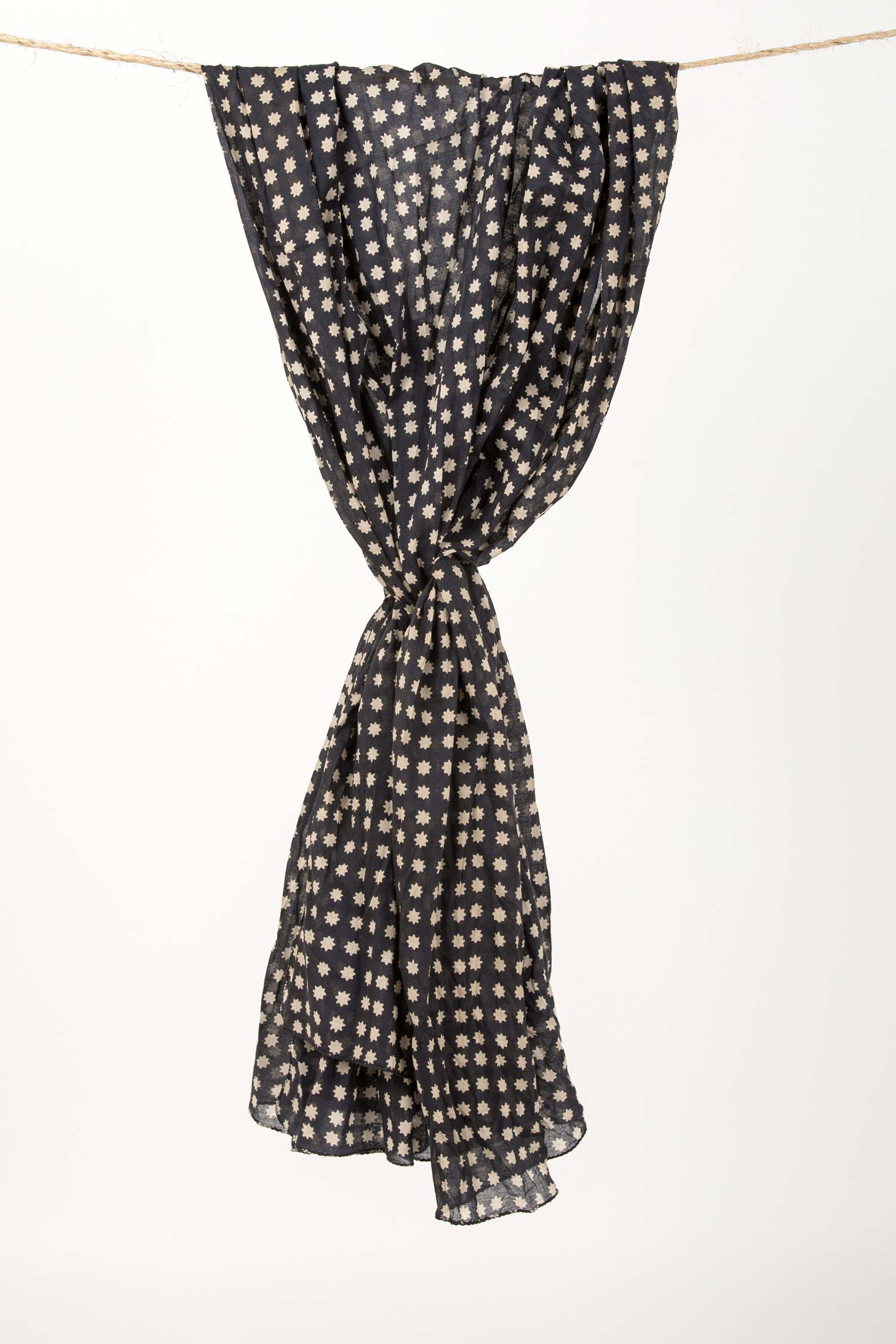 Womens Organic Cotton Wrap Scarf | Orion Block Print Wrap | Black